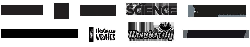 ARTE, 20 minutes, L'express, Pour la sciences, l'Éléphant la revue, Usbek & Rica, Fleurus Histoires vraies, Wondercity, Huffpost